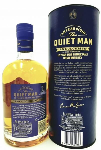 Quiet Man 12 Jahre Irish Single Malt Whiskey 46% vol. 0,7 l