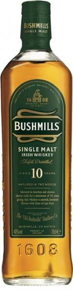 Bushmills Single Malt 10 Jahre 40% vol. Irish Whiskey 0,7 l