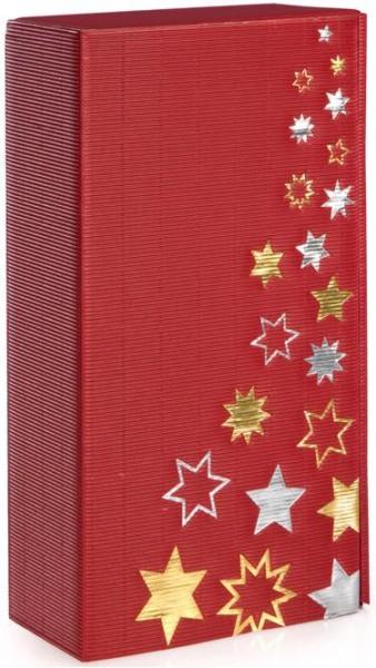 Verpackung Präsentkarton Sternenregen bordeaux für 2 Flaschen