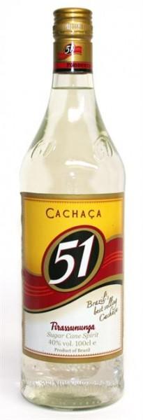 """Cachaca """"51"""" 40% vol. Brasilianischer Zuckerrohrbrand 1,0 l"""