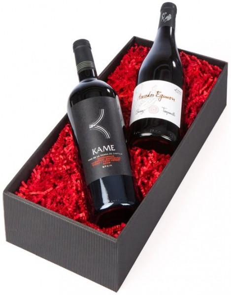 Weinpräsent Spanisches Feuer Kamé und Mercedes