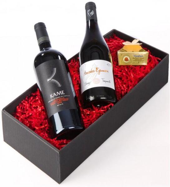 Weinpräsent Sooooo samtig Kamé, Mercedes und Goufrais