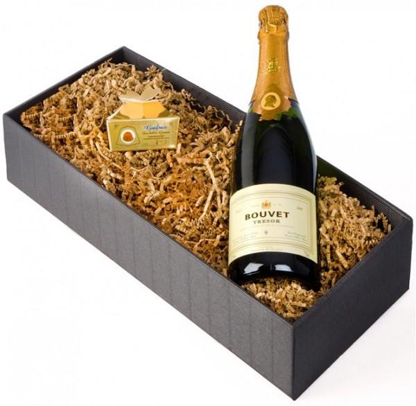 Weinpräsent Goldkehlchen Bouvet Cremant ´d Loire & kühle Goufrais