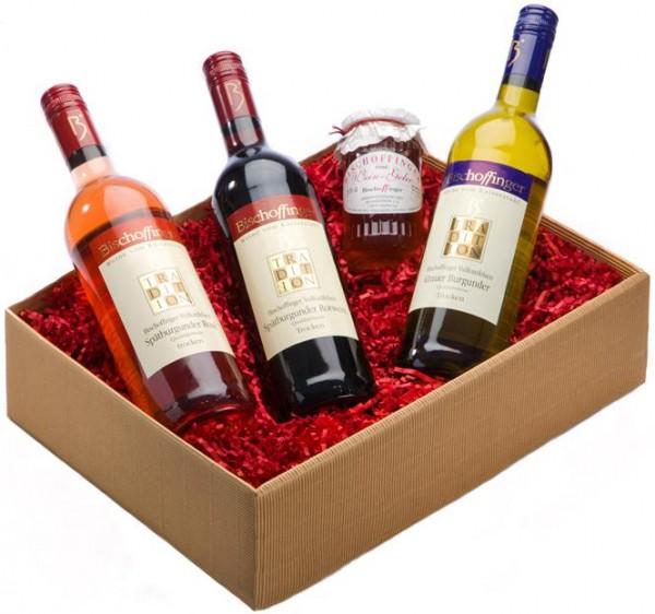 Weinpräsent Tradition aus Bischoffingen 3 Weine und Weingelee