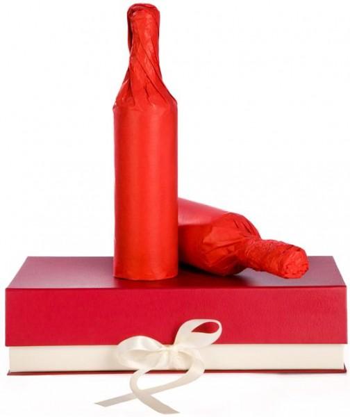 Präsentkarton edles Design rot-creme mit Schleife für 2 Flaschen