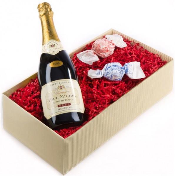 Weinpräsent Lebensfreude Champagner und Haselnussbaiser