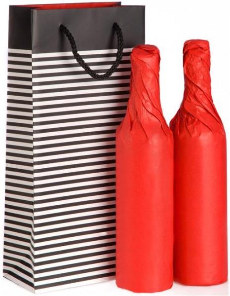 Verpackung Präsenttasche Streifenoptik für 2 Flaschen oder Feinkost